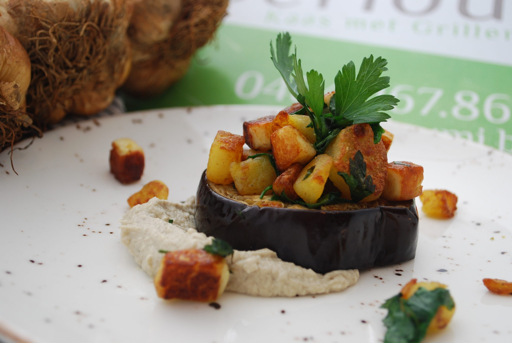 aubergine, hummus, berloumi, halloumi