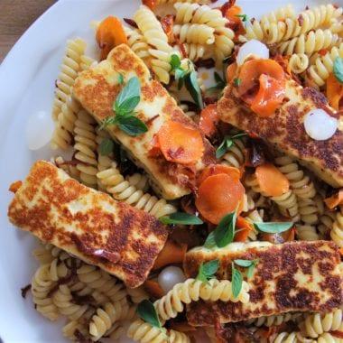 Pasta salad, pickled carrot, chorizo