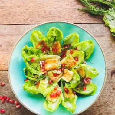 Roman lettuce, Berloumi, halloumi, pomegranate